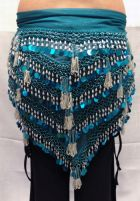 Egyptian Large Glass Fringe/Paillette Triangle Scarf