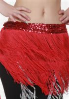 Stretch Sequin Band/Fringed Hip Scarf