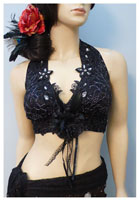 Lace Fabric Halter with Jewels