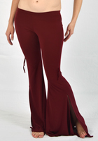 Lycra Flare Pants with Ruched Sides