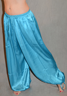 Satin Harem Pants with Ankle Tie